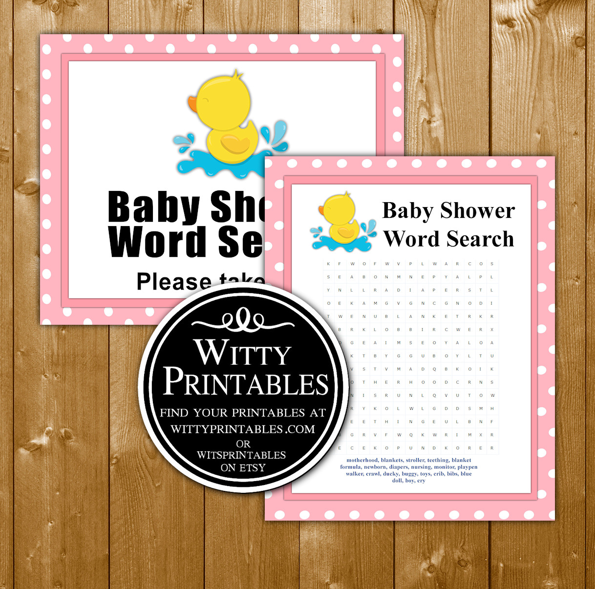 Word Search Baby Shower Game Printable Pink Duck Girl