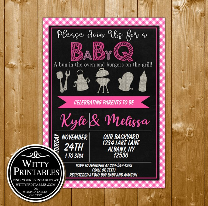 Baby Shower Invitation Pink Bbq For A