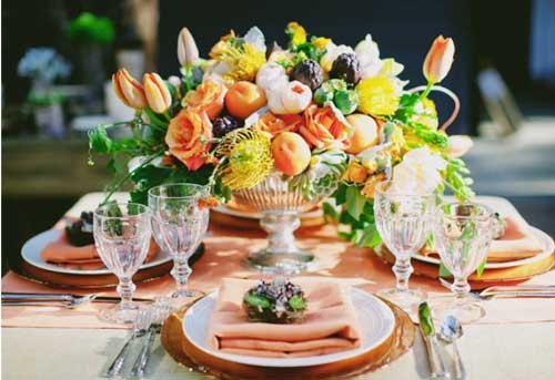 fruits and vegetable decor centrepieces witty vows