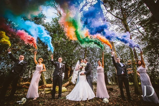 Smoke bomb with friends witty vows