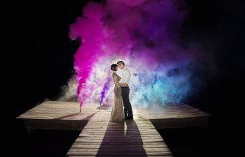 smoke bomb - wedding shoot trend witty vows