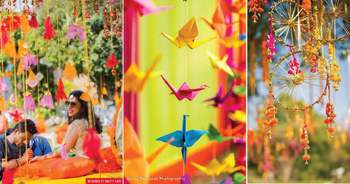 Hanging mehndi decor ideas | origami hangings | indian dream catcher decor for mehndi | colourful indian mehndi decor