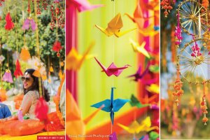 Hanging mehndi decor ideas | origami hangings | indian dream catcher decor for mehndi | colourful indian mehndi decor