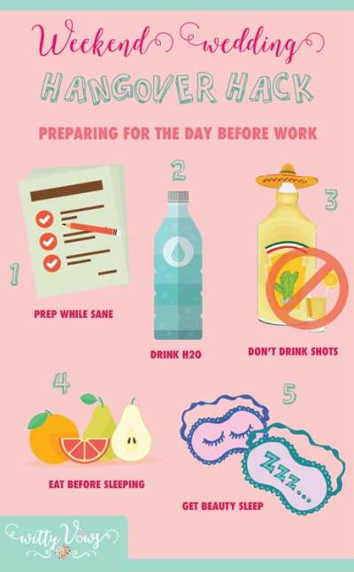 Handle a wedding weekend hangover at work   The guide for things to do the night of the party   Witty Vows