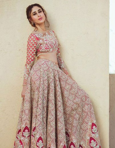 Pink and silver Lehenga with all over work and zig zag relief border by Faraz Khan