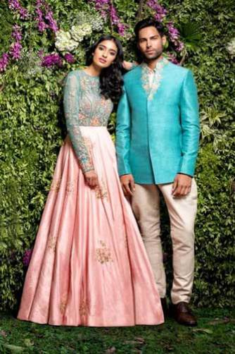 day wedding lehenga | Light peach lehengha for the day wedding with flower embroidery and a pretty blue top | Shyaml Bhumika