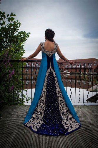 Trend Alert - Trains for the Indian Bride | Curated by Witty Vows | A beautiful blue gown for the cocktail with a long train | A blue and silver long gown for the Indian Bride| New Indian wedding trends 2016| Indian bridal look