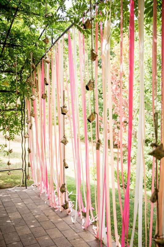 Indian Mehndi Decor Ideas | Wedding mood board to love - PINK and GOLD INDIAN Mehendi Theme curated by Witty Vows | Hot Pink fuchsia Rani Pink Pluss gold Colour Indian wedding Decor PINK RIBBONS with GOLD bells