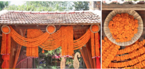 Magic with marigold | DIY decor ideas for the wedding house | using gainda on a budget | Floral toran with marigold | Curated By Witty Vows