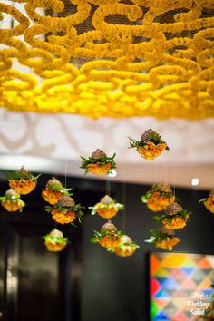 Magic with marigold | DIY decor ideas for the wedding house | marigold jaali ceiling for the house | Curated By Witty Vows