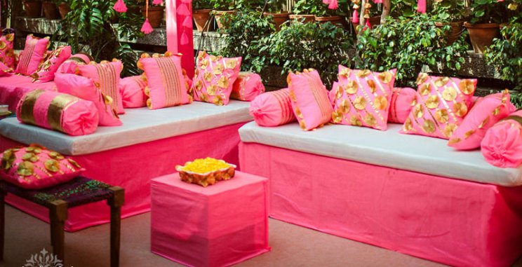 Indian Mehendi Decor Ideas | Wedding mood board to love - PINK and GOLD INDIAN Mehendi Theme curated by Witty Vows | Hot Pink fuchsia Rani Pink Pluss gold Colour Indian wedding Decor GOTA CUSHIONS