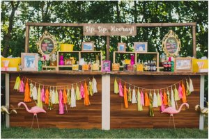 How to create an amazing cocktail bar at an Indian wedding - Ideas curated by Witty Vows | A fun Bar idea with tassels and picnic style garden daytime Indian brunch wedding feel