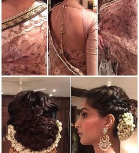 Indian wedding hairstyles for Indian Brides | Sonam Kapoor with a cross braided bun and an inverted gajra!