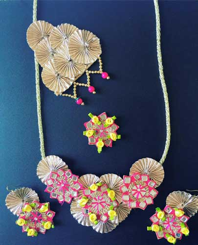 Full set Gota Jewellery in pink and gold with mirror work and yellow ribbon flowers for mehndi| Rasha Gota jewellery | Curated by Witty vows | Indian Bride accessory for the Mehendi & Wedding | Earrings Jhoomar & Necklace