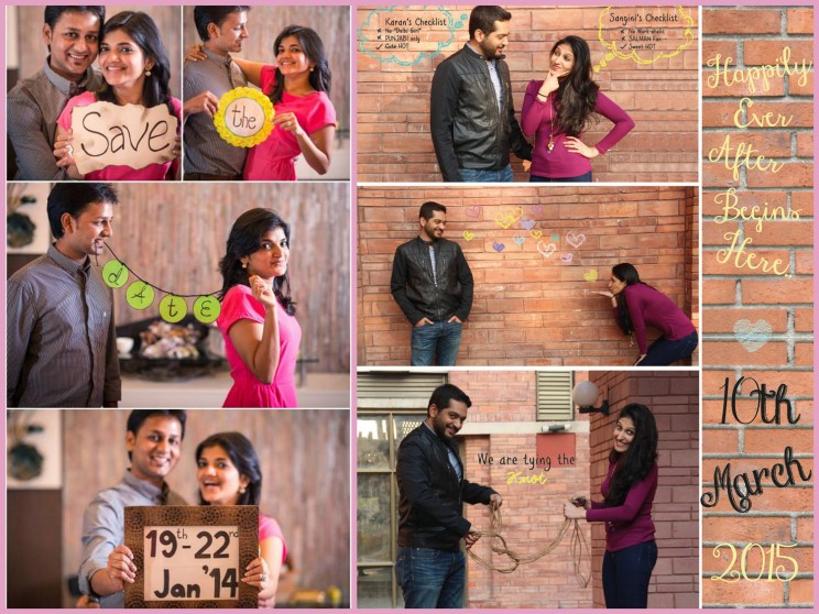 Save the date ideas for Indian weddings | Sav the date make a heart with several photos from a photo booth| Couple tying the knot save the date l Curated by Witty Vows