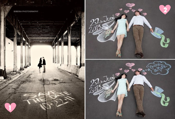 Save the date ideas for Indian weddings | Save the date ideas with writing on the road and chalk board art on the floor | Curated by Witty Vows