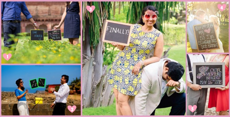Chalk board style cute save the date ideas for Indian Couples