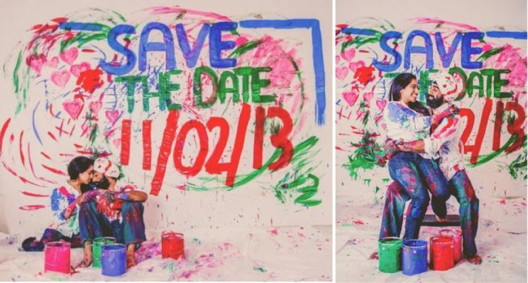 Save the date ideas for Indian weddings |Save the date painted on wall by Indian couple | Such an amazing idea| Curated by Witty Vows