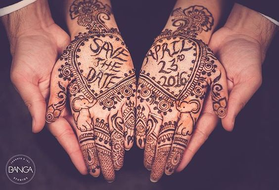 Save the date ideas for Indian weddings | Get your wedding date written in your mehendi | henna save the date | Curated by Witty Vows