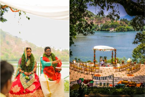 Seating layout ideas for Indian wedding ceremony| A lakeside mandap for an Indian destination wedding | Yellow round tables with marigold centrepieces | Lakeside wedding - outdoor Indian wedding decor ideas | Signages with couple caricatures - ideas for Indian wedding details | A woodland theme forest destination wedding in the Hills | Bengali wedding by the lakeside | Traditional Bengali wedding ceremony at a destination | The beautiful green and marigold mandap by the lakeside | Genda flower decor ideas | Subhashree and Jonathan | Ideas | curated by Witty Vows