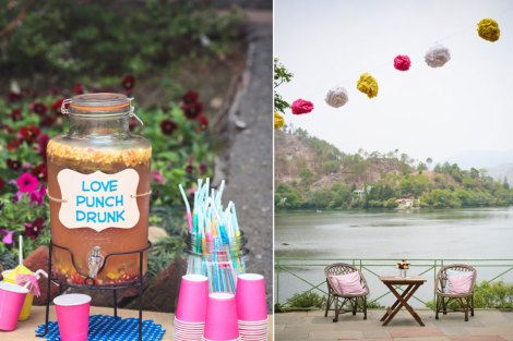A fun and playful colourful hill station wedding in nakauchiatal | Daytime mehendi | yellow and pink | Lakeside wedding inspiration | colourful outdoors Indian Mehendi decor | DIY Punch| Jonathan & Subhashree | Curated by Witty Vows