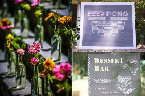 Pretty outdoor Indian Mehendi decor ideas  DIY ideas  colourful local flowers in glass bottles with pretty chalk style signages and games!  Pretty and easy food signages and display ideas for the Indian Wedding   Jonathan & Subhashree   Curated by Witty Vows
