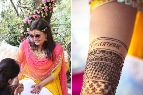 The chilled out Indian Bride in yellow and pink anarkali for her mehendi with a minimal mathapatti | Jonathan & Subhashree | Curated by Witty Vows