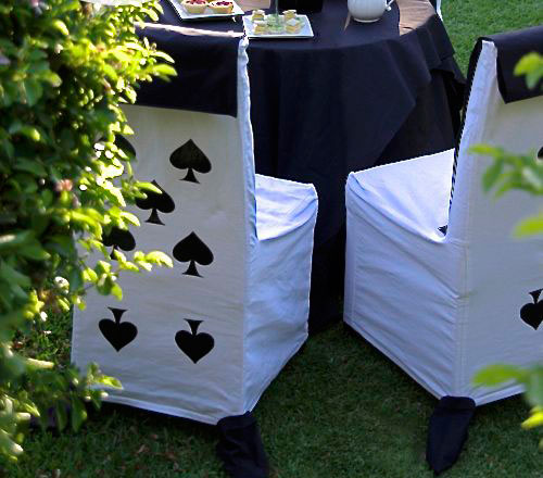 Get card inspired chair covers   a great idea for the decor at your cards party for diwali at home