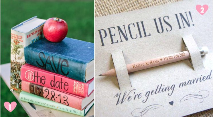 Save the date ideas for Indian weddings |Save the date written on a stash of story books and save the date on a pencil | Curated by Witty Vows