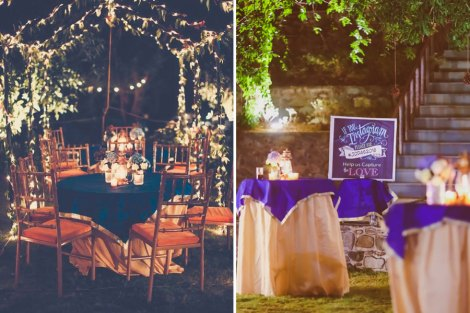 Ideas for an intimate night cocktail party for Indian weddings | Outdoor decor ideas for Indian weddings | Fairy light and blue and beige round tables with lanterns and cute instagram signages | Light up bar signage | Jonathan and subhasheree | Rustic woodland destination wedding | Curated by Witty Vows
