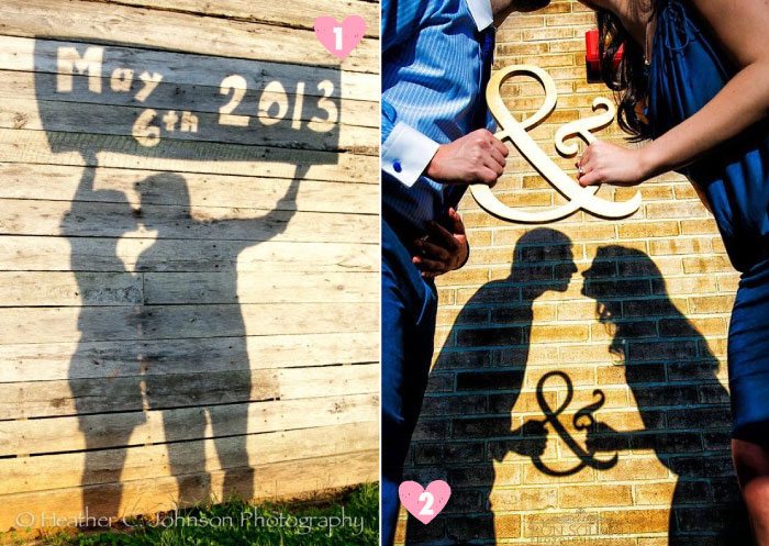 Save the date ideas for Indian weddings   Save the date ideas with couple's shadow on the wall with an ampersand sign and with the date   Curated by Witty Vows