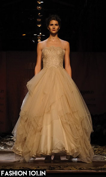 Gold Shantanu & Nikhi Layered Gown| Fall Winter Collecton 2016| Bridal wear | Reception gown| indian gown | cocktail gown | ballroom gown | indian designer| luxury designer| indian wedding| indian bride