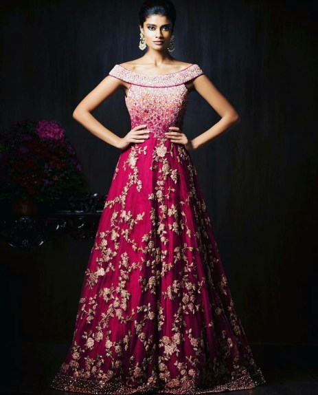 Reception Gowns for Indian Brides - Shyamal Bhumika| Pink | Red | Cocktail Gown | Indian Bridal wear | Indian Wedding | Indian Bride | Indian Gown | Boat Neck | Indian Embrobery
