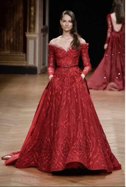 indian reception gown styles - Ziad Nakad |Red Cocktail Gown | Autumn Winter 2017 | Indian Bridal Wear | Indian Weddings | Indian Gown | Bridal Fashion | Indian Bride | Gowns with Pocket | Ballroom Gown