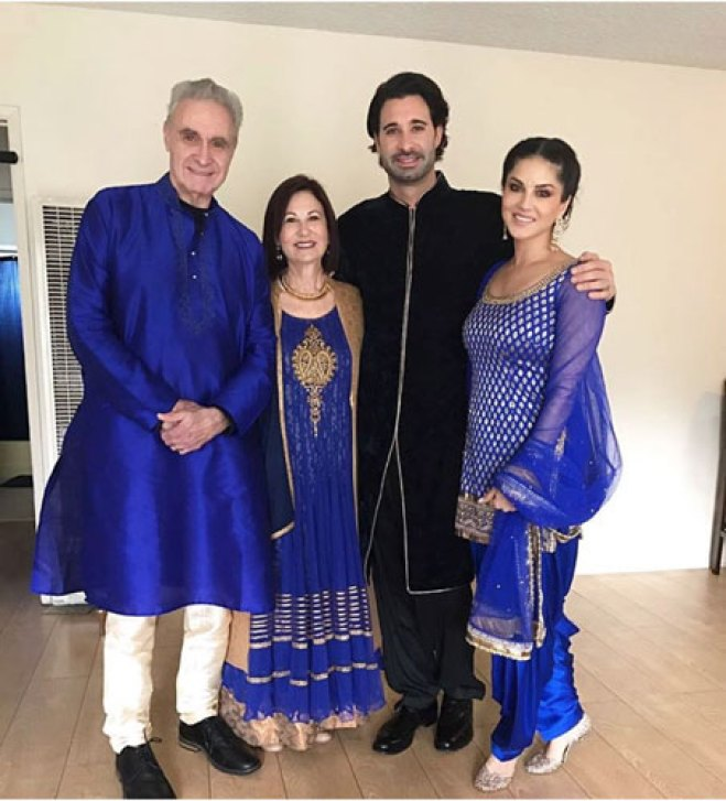 Sunny leone's Brother Sandeep vohra got married in a pretty Gurudwara Ceremony in LA | Sunny Leone coordinated with her in laws and husband in all blue indian wear