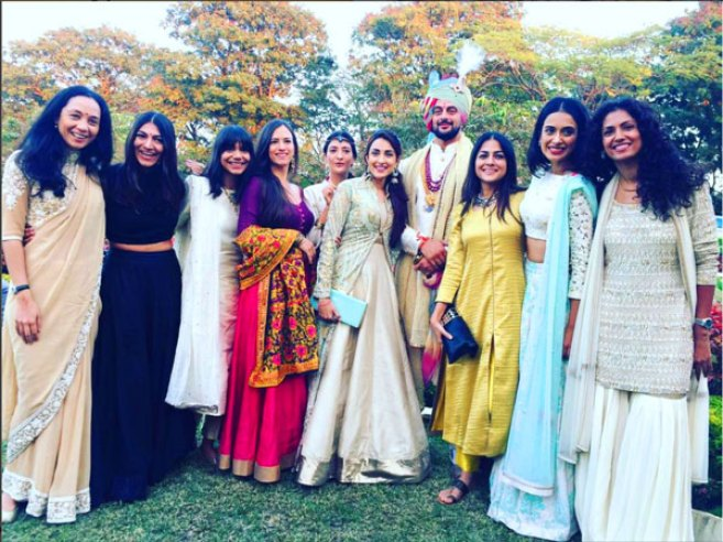 Cyrus Sahukar, Juhi Pande, newly-weds Yudhishtir and Aditi Mehra, Sheetal Mallar, Sarah Jane Dias, Singer Ankur Tewari and Gaurav Kapoor at Arunoday's wedding | Actor Aurunoday Singh's Wedding in Bhopal to lee elton | The groom in a white sherwani and colourful saafa with all his leading ladies