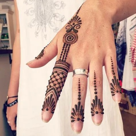 Minimal new mehndi design ideas for this wedding season   Henna Ideas   Jaali design mix modern Style finger Henna on back of the hand