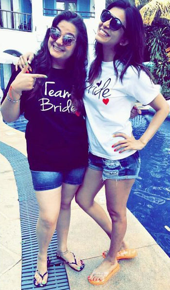 Indian Bachelorette Ideas - Kishwer Merchant's Bachelorette Party in Goa | Bride with her team bride t shirt and shorts | Bachelorette party ideas