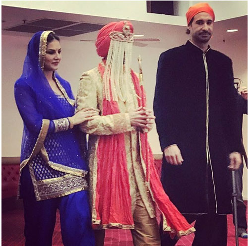 Sunny leone's Brother Sandeep vohra got married in a pretty Gurudwara Ceremony in LA | Sunny Walks her brother to the mandap