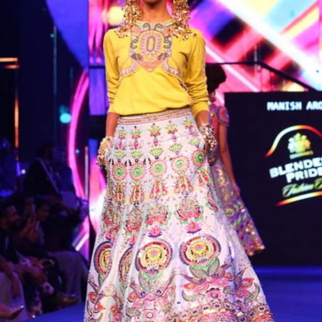 New Colourful Mehndi outfits for brides Pale Pink Lehenga   Models walk the ramp at Manish Arora's collection 2016 Blender's Pride Delhi   Mehndi outfit Ideas to steal from Manish Arora's New Collection