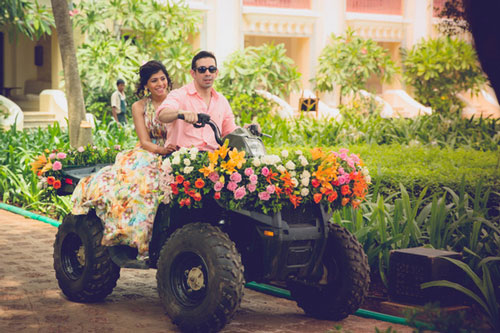 Groom and Bride exit ideas for Indian Weddings | vadai ideas | wedding send off ideas | couple exit ideas | Indian couple exit wedding on an ATV | Destination wedding ideas | Shot by Phototantra
