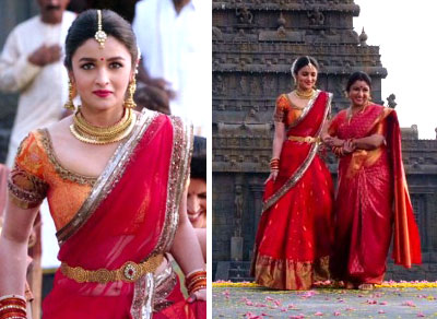 f412d366feda Alia Bhat in a kanjivaram silk half saree and wedding lehengas with gold  detailing and beautiful