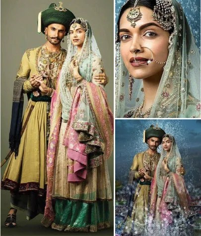 Deepika Padukone wedding lehenga in Bajirao Mastani | Anju modi gold and green lehenga with pale blue blouse and blue and gold dupatta | Bollywood fashion | Wedding Lehengas | bollywood lehenga | designer lehenga