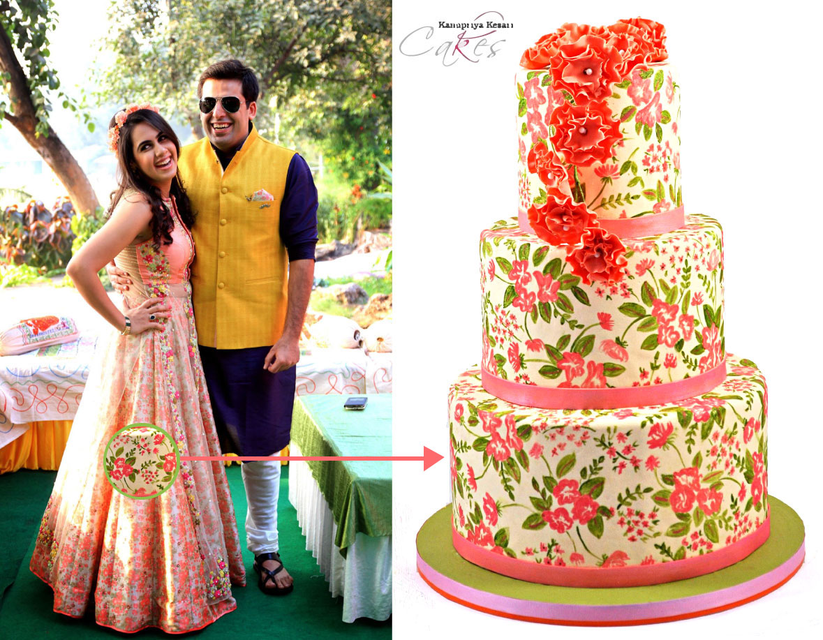 personalised wedding cakes | Indian Wedding Cakes | Bride wearing peach, mint green and ivory dress with chintz print and cake matching Indian bride's dress