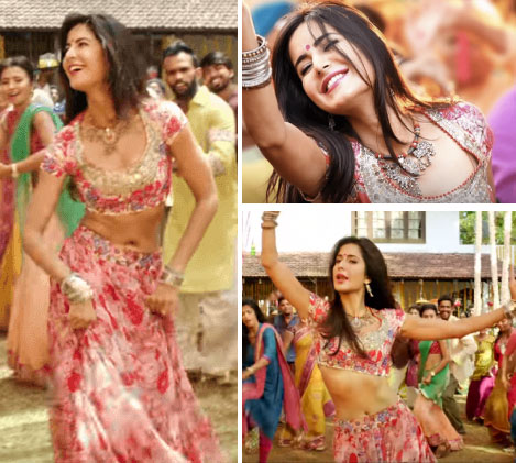 Katrina Kaif in Baar Baar Dekho in a floral pink lehenga with silver embroidery on her waist and blouse along with silver oxidised jewellery | Bollywood fashion | Wedding Lehengas | bollywood lehenga | designer lehenga