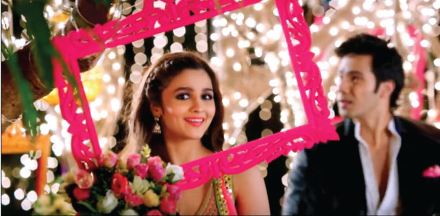 decor ideas from bollywood Humpty sharma ki dulhania | bollywood wedding | fun diy mehndi decor ideas | D se dance colourful frames with flowers and fairy lights for photo op decor mehndi