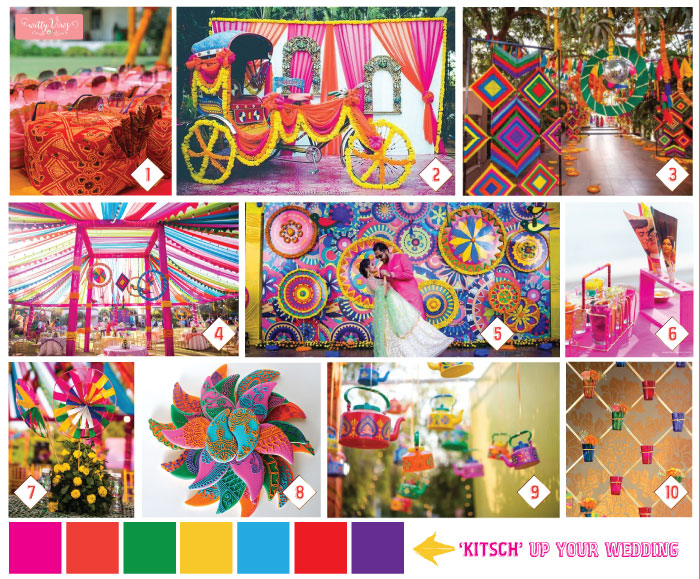 Indian Kitsch Mehndi Decor Ideas | Fun DIY Mehndi theme with super colourful Mehendi decor | Witty Vows | Free theme