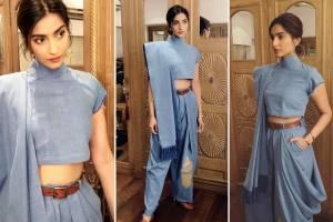 Sonam Kapoor in a denim saree designed by masaba