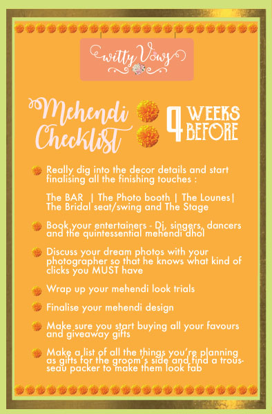 The ultimate Indian mehendi planning checklist | 1 month timeline for mehendi planning
