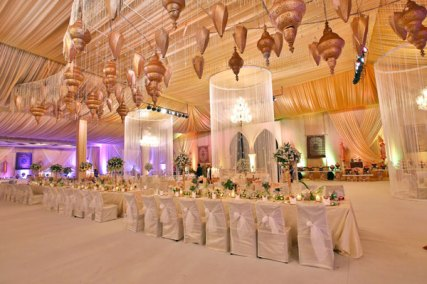 Ridhi Mehra's wedding photos | reception decor in ivory and gold
